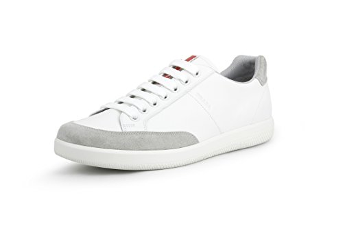 Prada Men's Plume Calf Leather with Suede Low-top Trainer Sneaker, White/Grey 4E3027 (10 US / 9 UK)