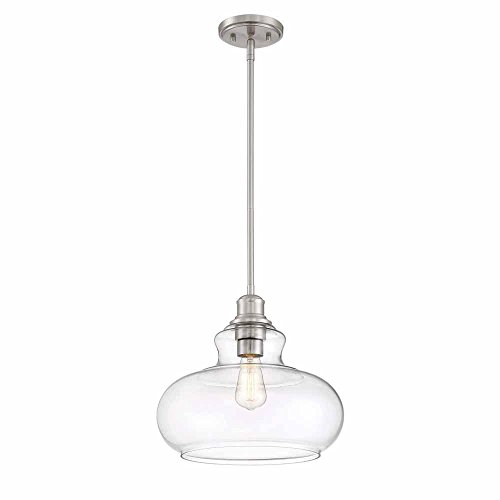 (Cordelia Lighting 1-Light Brushed Nickel Hanging Pendant)