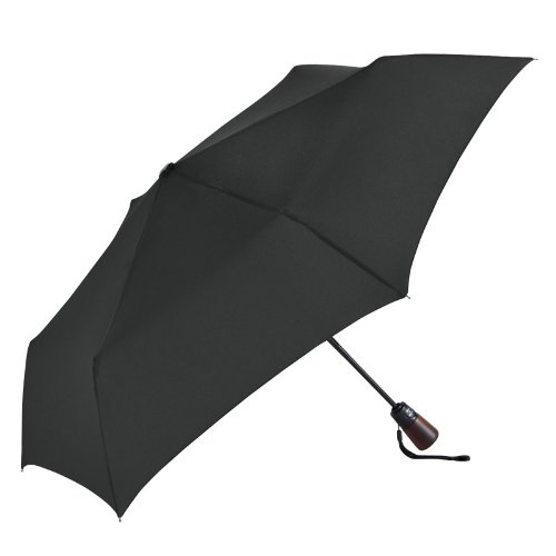 "Amazon.com: ShedRain Ultimate Umbrella 44"" ARC, Auto Open/Close Wood handle, leather handle strap-759562 (Red W Black Poko): Home & Kitchen"