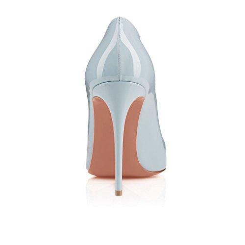 Arc-en-ciel zapatos de mujer punta redonda tacón alto Azul