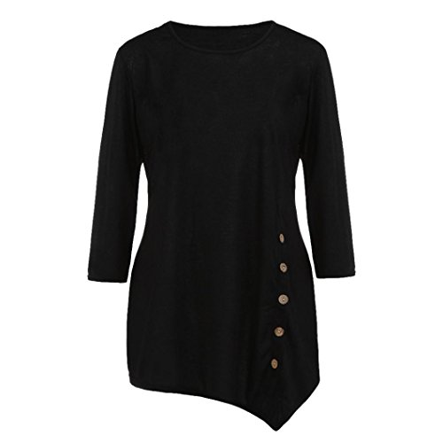 TOPUNDER Women Long Sleeve Blouse Loose Button Trim Solid Color Round Neck Tunic T-Shirt by