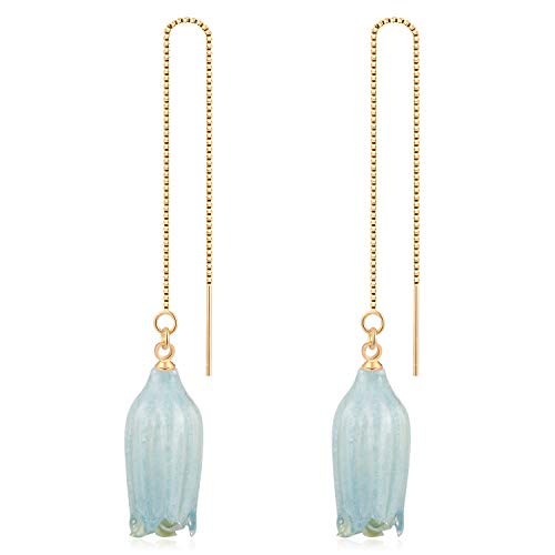 (FM FM42 Natural Lily of the Valley Flower Preservation Charm Gold-tone .925 Sterling Silver Box Chain Ear Threader Dangle Earrings (Blue) FE2080-B)