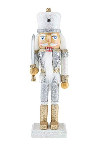Clever Creations Wooden Glittery Soldier Nutcracker | Gold and Silver Uniform Holding Sword | Great Traditional Festive Christmas Decor | Great for Any Holiday Collection | 10