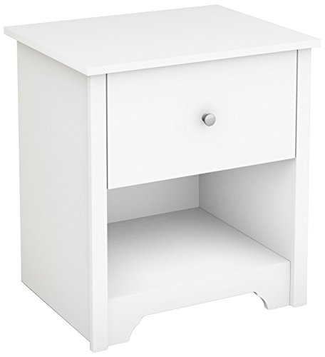 - South Shore Vito 1-Drawer Nightstand, Pure White with Matte Nickel Handles