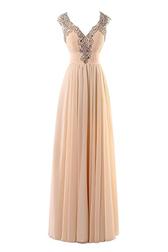 Evening Women's Prom Dresses Bess Backless Neck Long Beaded Chiffon Bridal Fuchsia V O5n7wq5Hz