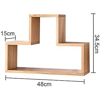 Amazon.com: YNN Estante de pared de madera maciza en forma ...
