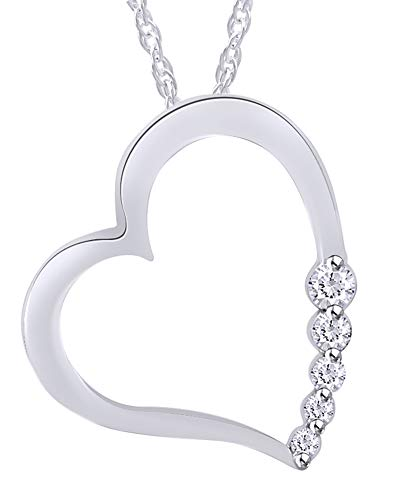 Diamond Floating Heart Necklace - Round Cut Natural Diamond Floating Heart Pendant Necklace In 10K White Gold (0.075 cttw)
