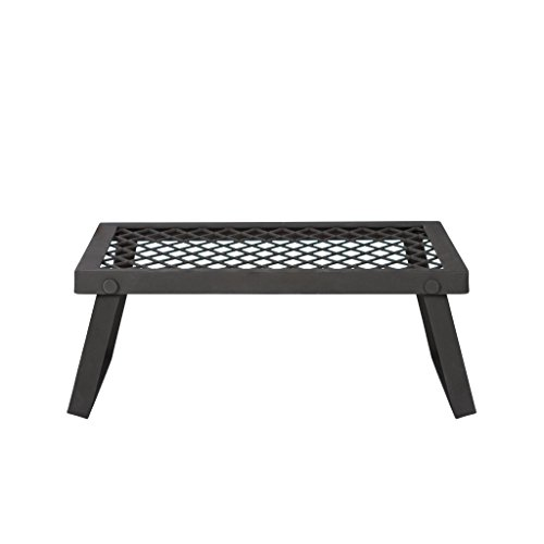 AmazonBasics Medium Portable Folding Camping Grill Grate - 18 x 12 x 7 Inches, Black Steel