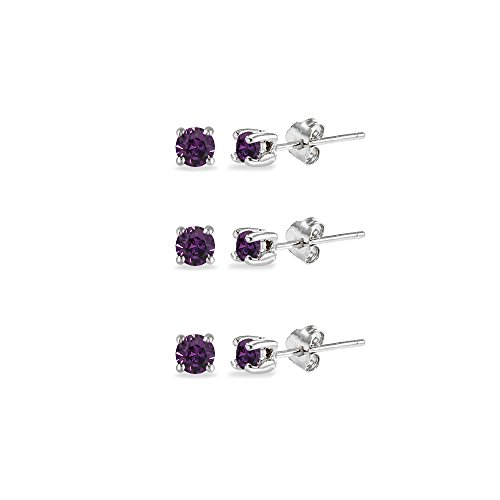 3-Pair Set Sterling Silver Purple 3mm Round Stud Earrings Made with Swarovski Crystals