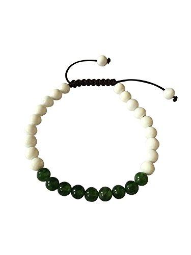 Hands Of Tibet Tibetan Yoga Mala Conch Shell Wrist Mala for Meditation (Green jade)