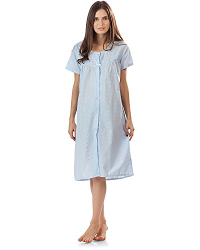 - Casual Nights Women's Short Sleeve Eyelet Embroidered House Dress - Blue - X-Large