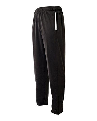 A4 Sportswear Black Adult Large Athletic Warm Up Wicking Pants Elastic Waist Band with Draw Cord