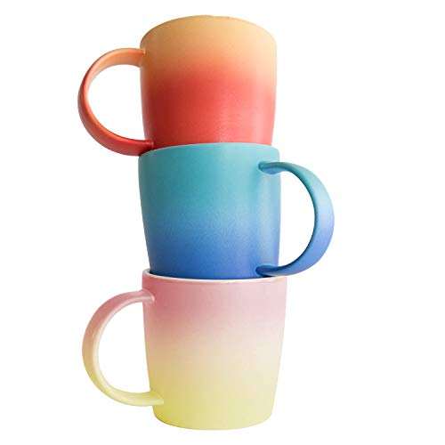 - Ombre Mugs Collection - Ombre Gradient Cups Set of 3, Colour Bundle Gift Set, Soft Touch, 12oz New Bone China for Coffee/Tea/Beverage/Mug Cake/Stationary and Plant Holder in Aurora, Flamingo, Magma