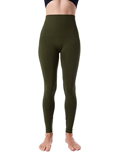 Homma High Waist Tummy Compression Control Slimming Leggings (SMALL, - Heathered Green Olive