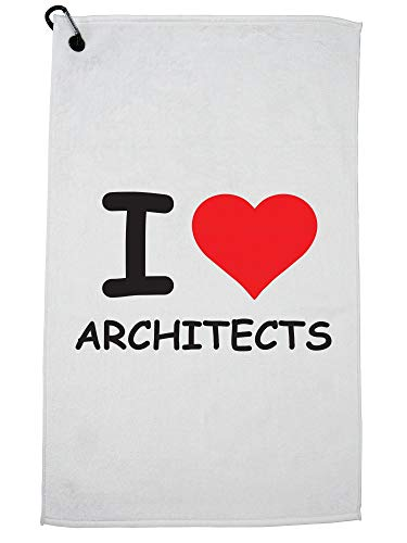 Hollywood Thread I Love Architects Golf Towel with Carabiner Clip