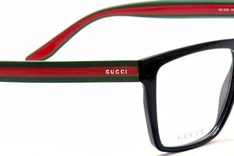 f34ee9a9449 Amazon.com  Gucci GG1008 Eyeglasses 55-14-150 Shiny Black Red Green 051N   Clothing