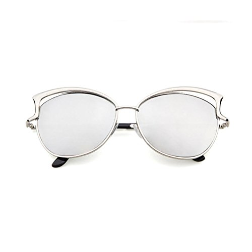 SMYTSHOP 2017 Polarized Sunglasses,Men Women Glasses Metal Spectacle Frame Myopia Eyeglasses Sunglasses (Silver, - Spectacles Frames Round Shaped