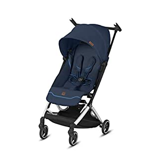 gb Pockit+ All City, Ultra Compact Lightweight Travel Stroller with Front Wheel Suspension, Full Canopy, and Reclining Seat in Night Blue