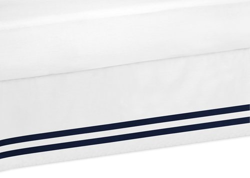 Sweet Jojo Designs Boys Navy and White Queen Bed Skirt for Anchors Away Nautical Bedding Sets