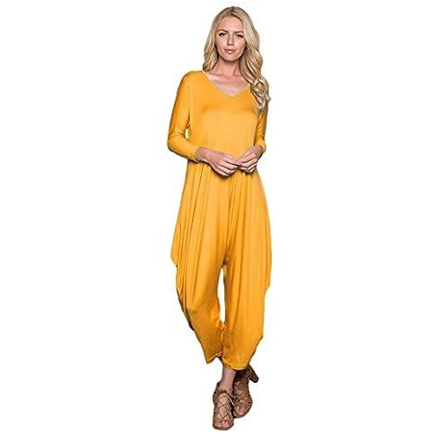 - 31TQv25bIQL - Annabelle Women's Solid Harem Pant Long Sleeve Pocket Harem Pant Jumpsuit