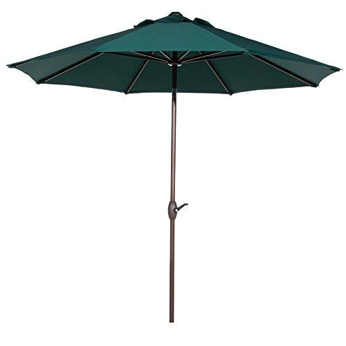 Abba Patio 11-Feet Patio Umbrella with Push Button Tilt and Crank, Dark Green