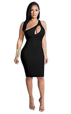 JIMUJIMU Women One Shoulder Above Knee Length Night Club Dress