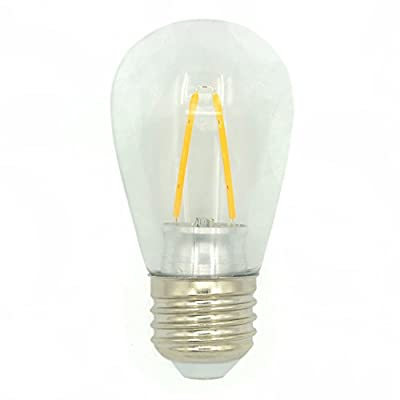 LED S14 2 Watt Light Bulbs, Soft White (2700K),E26/E27 Medium Base,120VAC,2 Watts to Replace 30W Incandescent Bulbs in Outdoor String Lights,Non-dimmable,Edison-inspired Exposed Filaments Design