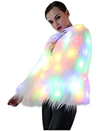 Women Faux Fur Outwear Burning Glow Fluffy Sparking Rainbow LED Costume