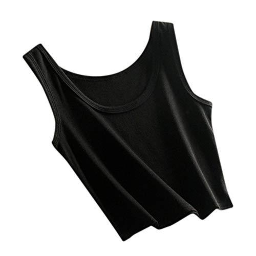 Allegorly Damen Sommer Slim Short Weste Frauen ärmellose T-Shirt Tank Kurze Cami Weste Crop Top Bluse Strand Sommer Tank