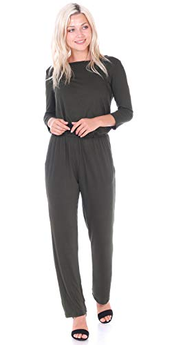 92011734212 Popana Womens Casual 3 4 Sleeve Jumpsuit with Pockets Plus Size Made in USA  Small