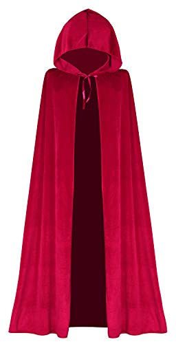 Red Cloak Hooded Little Red Riding Hood Cape for Witch Costumes]()