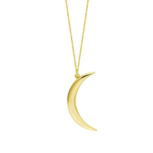 Half Moon Charm - Ritastephens 14k Yellow Gold Polished Mini Half Crescent Moon Charm Pendant Necklace 18 Inches