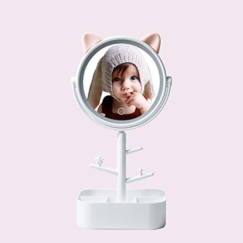 Vanity Mirror with Lights and Cute Cat Ears Design for Kids and Girls, Cosmetic Mirror with Storage Box and Bracket, USB Cable or Battery Powered Lighted Up Makeup Mirror -