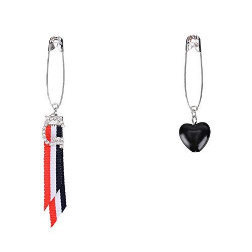 ld Length of ear ornaments personalized trend striped banners asymmetric earrings girl simple love ear pendant black ()