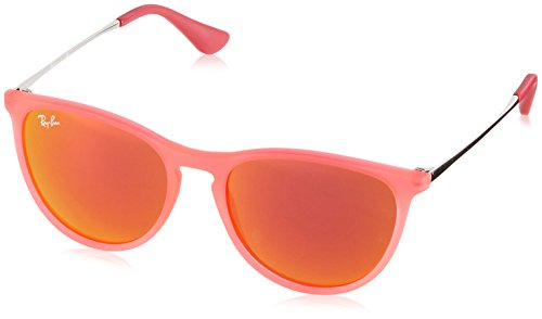 (Ray-Ban Junior RJ9060S Erika Kids Round Sunglasses, Orange Transparent Rubber/Orange Mirror, 50 mm)