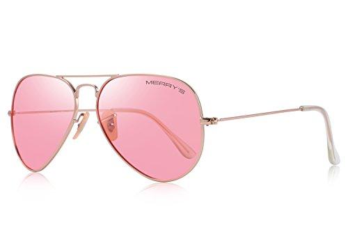 MERRY'S Classic Men/Women Pilot Polarized Sunglasses 58mm S8025 (Transparent Pink, ()