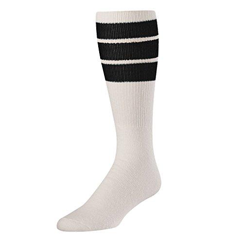 TCK Retro 3 Stripe Tube Socks, Black, Medium