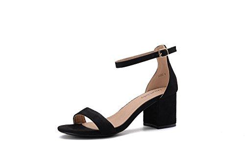 Mila Lady Penny A Slim Ankle Strap Floral Embroidered Chunky Elegance Platform Lady Heels BLACK7.5