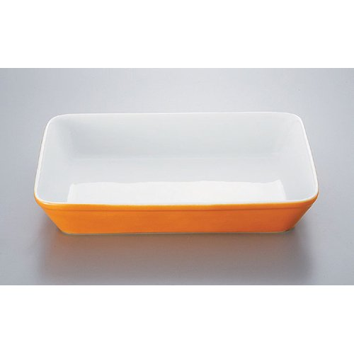 Plate utw578-12-144 [12.3 x 9.1 x 2.3 inch] Japanece ceramic Orange blown 14 inch lasagna tableware