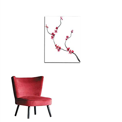 Wall Sticker Decals Abstract floral collage in Japanese folk painting style Sumi-e Pink red hand drawn fantasy Chinese plum flowers and branches isolated on a white background Batik bookmural - Batik Collages