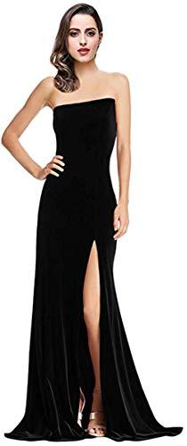Women's Velvet Strapless Mermaid Long Prom Dresses Side Slit 2019 Formal Evening Ball - Gown Strapless Velvet Black