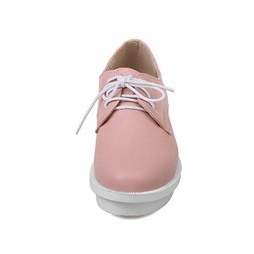 Mee Shoes Damen chunky heels Plateau Schnürhalbschuhe Pink