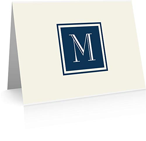 Monogram Stationery Note Cards (24 Foldover Cards and Envelopes) (M)