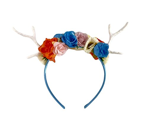 Dreampixie Deer Antler Flower Headband (Blue) (Homemade Costumes For Plus Size Women)