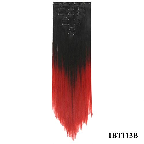 PrettyWit 23-24 Inch Long Clip in on Hair Extensions Ombre Double Weft Full Head Straight Hairpiece for Women 7pcs/set-Black to Red 1BT113B (Black Hair Extensions 23)