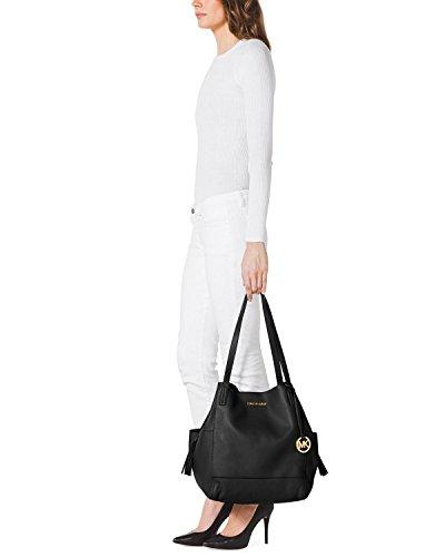 f63adf0f02 Michael Kors Extra Large Ashbury Grab Leather Bag in Black  Handbags   Amazon.com