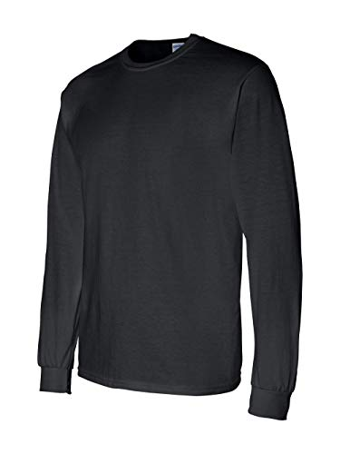 Gildan Men's 5.5 oz, 50/50 Long-Sleeve T-Shirt, Black, Large ()