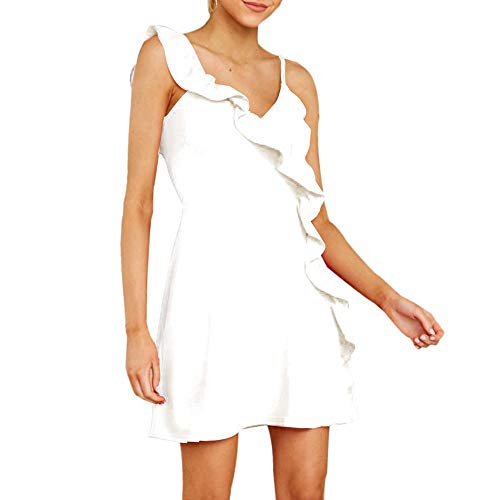 (Joteisy Women's Spaghetti Strap Ruffle One Shoulder Sleeveless A-line Mini Dress (M, White) )