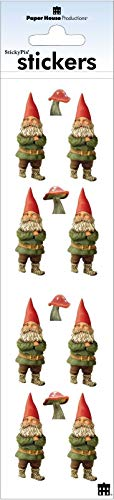 "Sticker Scrapbooking Paper House Slim Gnomes Mushrooms Red Hats Green Repeats 2.5"" X 9.5"""