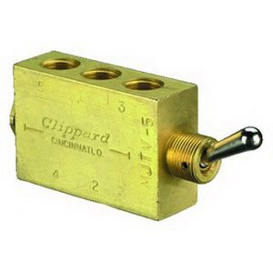 "Clippard MJTV-5 4-Way Toggle Valve, ENP Steel Toggle, 1/8"" NPT from Clippard"